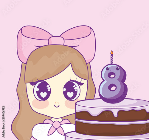 cute kawaii girl with cake birthday card vector illustration design - 209406982