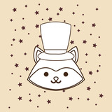 cute fox with top hat over yellow background, colorful line design. vector illustration - 209407191