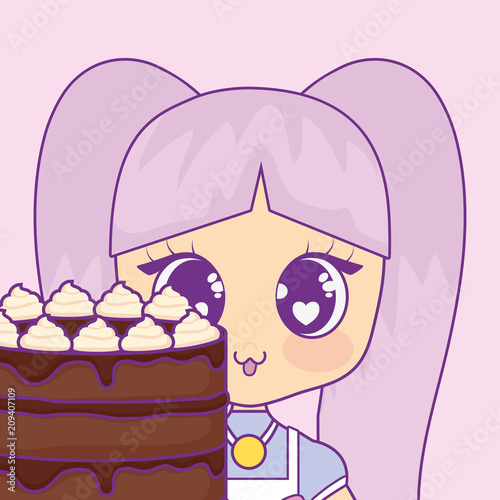 cute kawaii girl with cake birthday card vector illustration design - 209407109
