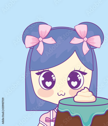 cute kawaii girl with cake birthday card vector illustration design - 209407139