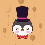 cute penguin with top hat over orange background, colorful line design. vector illustration