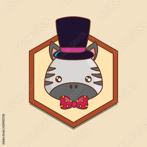 decorative frame with cute zebra with top hat over yellow background, colorful line design. vector illustration