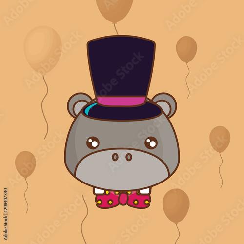 cute hippopotamus with top hat over orange background, colorful line design. vector illustration