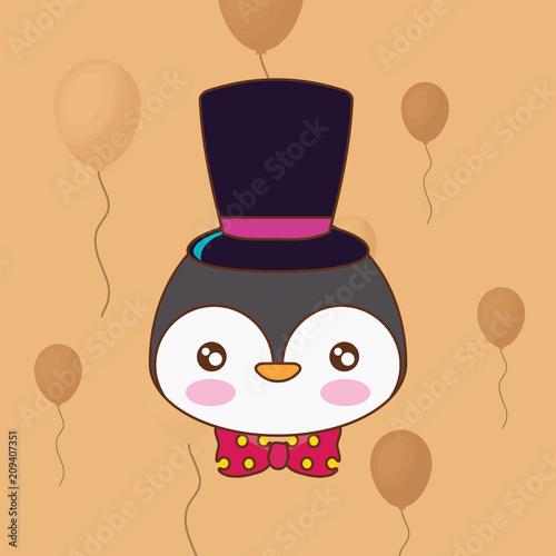Poster cute penguin with top hat over orange background, colorful line design. vector illustration