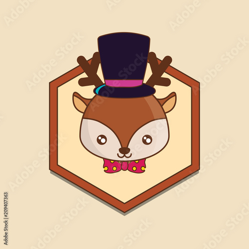 decorative frame with cute deer with top hat over yellow background, colorful line design. vector illustration