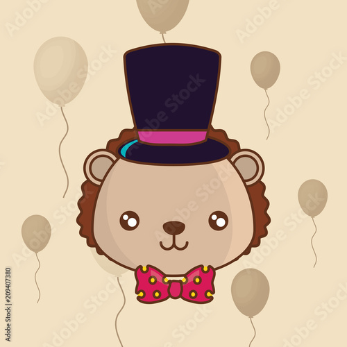 cute porcupine with top hat over yellow background, colorful line design. vector illustration