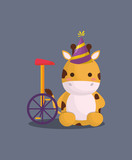 carnival circus with cute giraffe with party hat and monocycle over gray background, colorful design. vector illustration - 209407569