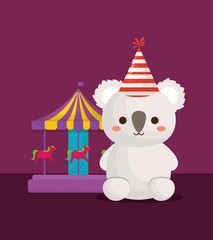 cute koala and carousel icon over purple background, colorful design. vector illustration
