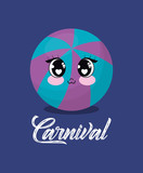 carnival design with kawaii ball over blue background, colorful design. vector illustration