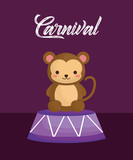 carnival design with cute monkey over purple background, colorful design. vector illustration - 209407920