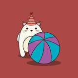 cute cat with party hat and ball over brown background, colorful design. vector illustration