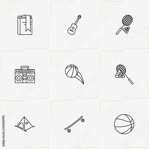 Fotobehang Skateboard Leisure line icon set with camping tent , badminton and basketball