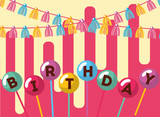 word in balloons in stick garlands decoration happy birthday card vector illustration - 209409376