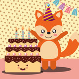 little fox and cake cartoon celebration happy birthday vector illustration - 209409727