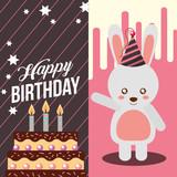 little bunny and sweet cake celebration happy birthday vector illustration