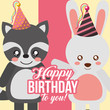cute raccoon and rabbit animals funny celebration happy birthday vector illustration - 209409961