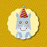 cute hippo party hat decoration label happy birthday vector illustration - 209409912