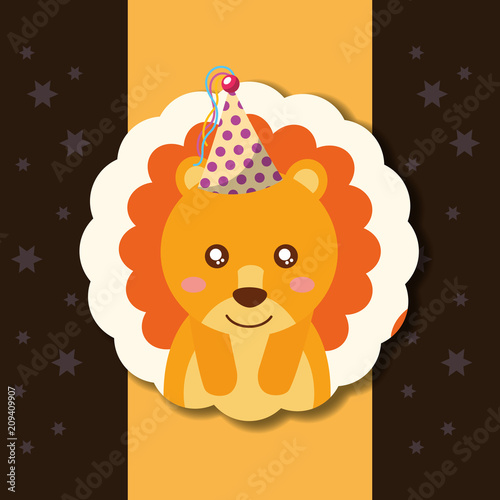 cute lion party hat decoration label happy birthday vector illustration