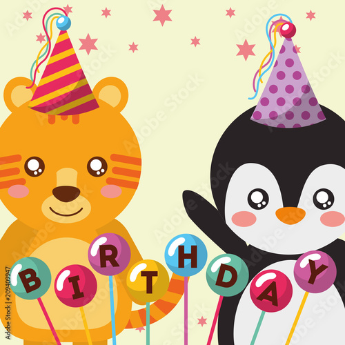 cute tiger and penguin balloons funny celebration happy birthday vector illustration