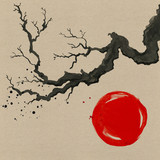 Tree branch in Japanese painting style. Traditional Beautiful watercolor hand drawn illustration