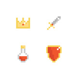 Set, collection of pixel monarchy, RPG game icons, symbols. Crown, sword, shield and potion bottle. - 209421732