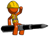 Orange Construction Worker Contractor Man Riding a pen like a giant rocket - 209423737