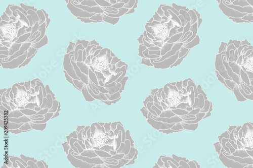 Hand drawn floral pattern for  textile, fabric, paper, wallpaper. Peony flowers on the blue background. - 209425382