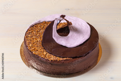 Homemade chocolate cake with spiral decore