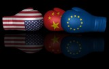 USA United States China EU tariffs trade war US European Union Eurozone Europe punitive duty 3d boxing gloves flags crisis conflict confrontation sign illustration isolated on black background