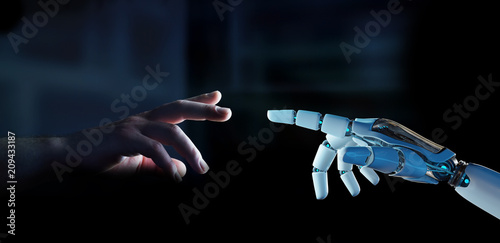 Leinwanddruck Bild White cyborg finger about to touch human finger 3D rendering