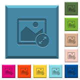 Resize image large engraved icons on edged square buttons - 209437395