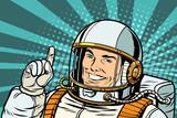 pop art astronaut points up - 209438158
