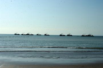 Navires de guerre au large d'Arica