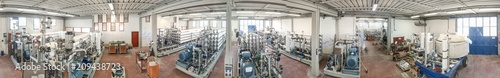 Foto Murales Machinery for Water Treatment Plant, panoramic aerial view of warehouse