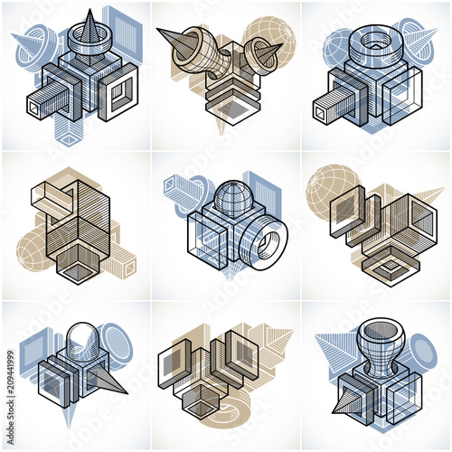 Different engineering constructions collection, abstract vectors set. - 209441999