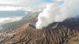 Aerial shot of Mount Bromo Volcano during sunrise, in East Java, Indonesia