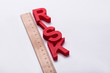Elevated View Of Red Risk Word And Wooden Ruler - 209443715