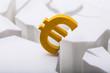 Leinwanddruck Bild - Euro Currency Symbol On Cracked White Surface