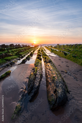 beautiful beach of barrika located at Basque Country