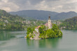 Lake Bled with island and a church on it, in background, Bled , Slovenia - 209450721