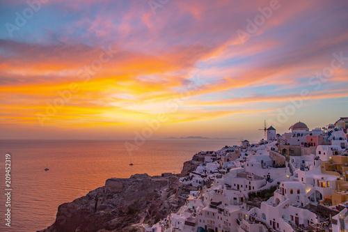 Beautiful Sunset in Oia Santorini