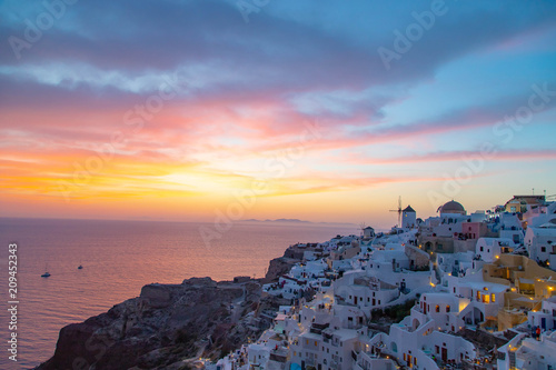 Fotobehang Santorini Sunset in Oia Santorini