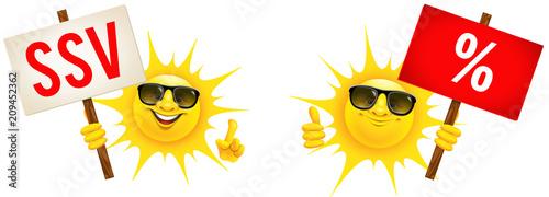 Cartoon Sonne mit Sonnenbrille und Schild - SSV und Prozente © Artenauta