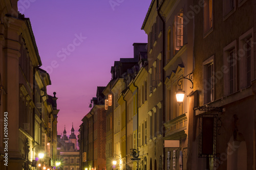 Foto Murales Warsaw, the old city, night photo