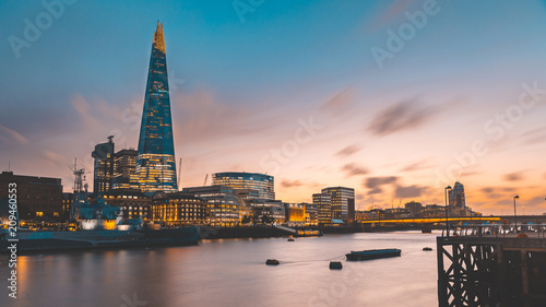 London skyline and Thames view at sunset