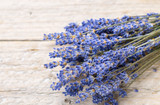 Bouquet of lavender on an old wooden table. Rustic style. Top view and copy space - 209460715