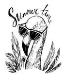 Flamingo in sunglasses with palm trees. Hand drawn sketch converted to vector.