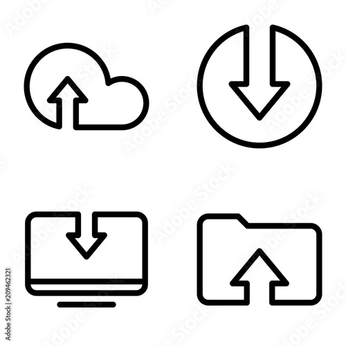 Set of black icons isolated on white background, on theme Download files