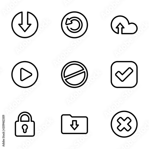 Set of black icons isolated on white background, on theme Application interface