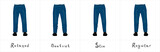 Different types of men's blue jeans with antique brass buttons and yellow threads front view isolated on white vector illustration - 209462552